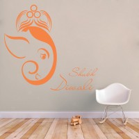 Decor Kafe Decal Style Shubh Deepawali Art Small Size-19*17 Inch Wall Sticker Sticker (Pack Of 1)
