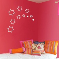 Wow Interiors White Stars 3d Wall Sticker Small Acrylic Sticker (Pack Of 10)