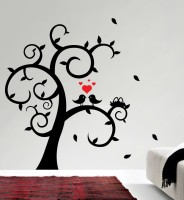 Decor Kafe Decal Style Love Birds On Tree Small Size-15*15 Inch Vinyl Film Sticker (Pack Of 1)