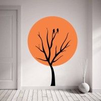 Decor Kafe Bird On Tree Self Adhesive Wall Decal Large Size-32*44 Inch Wall Sticker Sticker (Pack Of 1)