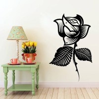 Decor Kafe Decal Style Rose Flower Medium Size-25*29 Inch Color - Black Vinyl Film Sticker (Pack Of 1)