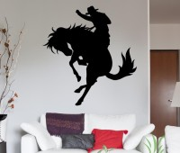 Vitin Enterprises Cowboy Black Colour Wall Decal Self-adhesive Sticker (Pack Of 1)