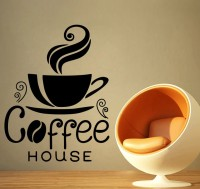 Decor Kafe Decal Style Coffee House Wall Art Small Size-13* 17 Inch Color - Black Wall Sticker (Pack Of 1)