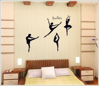 Oren Empower Ballet Dance Diy Decorative Removable Wall Sticker (105 Cm X Cm 130, Black)