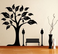 Décor Kafe Decal Style Tree Side Wall Small Size-24*23 Inch Color - Black Vinyl Film Sticker (Pack Of 1)