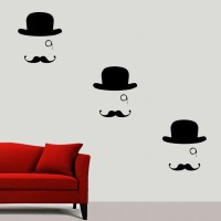 Decor Kafe Decal Style Hat And Moustache Art Tiny Size- 15*13 Inch Wall Sticker Sticker (Pack Of 1)