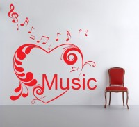Decor Kafe Decal Style Floral Heart Music Art Small Size-15*18 Inch Wall Sticker Sticker (Pack Of 1)