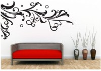 Oren Empower Black Geometric Models Oversized Flower Vine Wall Sticker (70 Cm X Cm 130, Black)