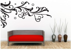 Oren Empower Black Geometric Models Oversized Flower Vine Wall Sticker