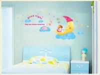 Oren Empower The Moon Girl Wall Sticker For Kids Room (80 Cm X Cm 170, Multicolor)