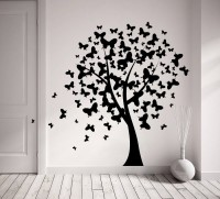 Decor Kafe Decal Style Butterfly On Tree Tiny Size-15*14 Inch Vinyl Film Sticker (Pack Of 1)