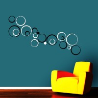 Wow Interiors White And Black Circle Wall Sticker Large Acrylic Sticker (Pack Of 20)