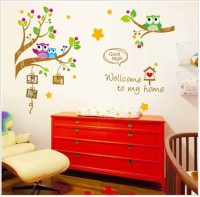 Oren Empower The Owl And A Tree And Photo Frame Wall Sticker (120 Cm X Cm 167, Multicolor)