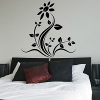 Decor Kafe Decal Style Floral Wall Large Size-37*38 Inch Color - Black Vinyl Film Sticker (Pack Of 1)