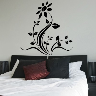 Decor Kafe Decal Style Floral Wall Small Size-21*21 Inch Color - Black Vinyl Film Sticker (Pack Of 1)