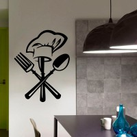 Decor Kafe Decal Style Cutlery Wall Art Medium Size- 16*21 Inch Color - Black Wall Sticker (Pack Of 1)