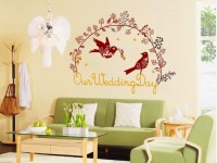 SYGA Our Wedding Day Red Birds Wall Pvc Vinyle Sticker (Pack Of 1)