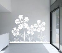 Decor Kafe Decal Style Flowers Large Size-46*30 Inch Vinyl Film Sticker (Pack Of 1)