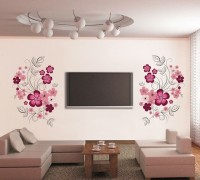 Oren Empower Very Sweet Decorative Pink Flower Wall Sticker (88 Cm X Cm 150, Multicolor)