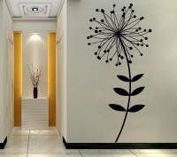 Decor Kafe Decal Style SunFlower With Dot Leaves Art Large Size-25*55 Inch Wall Sticker Sticker (Pack Of 1)
