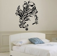 Décor Kafe Decal Style Swirl Design Wall Tiny-13*17 Inch Color - Black Vinyl Film Sticker (Pack Of 1)