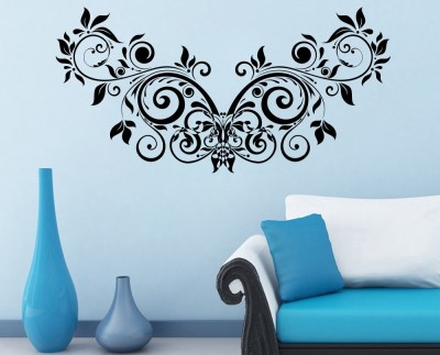 Decor Kafe Decal Style Floral Creative Design Tiny Size-22*11 Inch Color - Black Vinyl Film Sticker (Pack Of 1)
