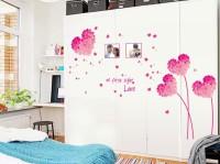 Oren Empower Pink Love Heart Decorative Wall Sticker (96 Cm X Cm 125, Pink)