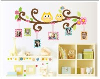 Oren Empower Owl Wall Sticker Frame Photo Wall Sticker (60 Cm X Cm 110, Multicolor)