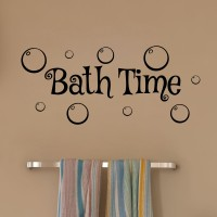 Decor Kafe Bath Time Wall Decal Small Size-18 X 08 Inch Black Vinyl Film Sticker (Pack Of 1)