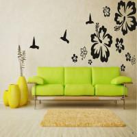 DeStudio Hibiscus Flowers Color (Black) Size (150cms X 60 Cms) Wall Sticker