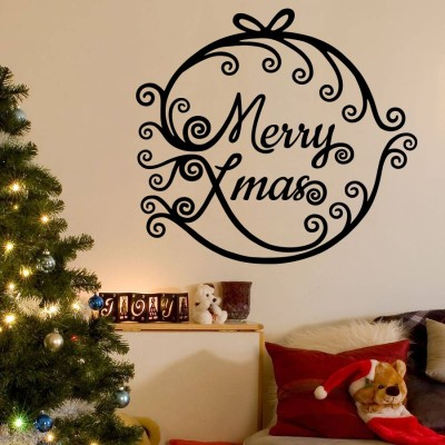 Decor Kafe Decal Style Merry Xmas Wall Decal Small Size-17*15 Inch Color - Black Vinyl Film Sticker (Pack Of 1)