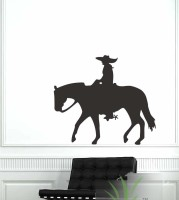 Vitin Enterprises Cowboy With Horse Black Colour Wall Decal Self-adhesive Sticker (Pack Of 1)