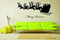Decor Kafe Decal Style Santa Comes With Deers Art Medium Size-24*12 Inch Wall Sticker Sticker (Pack Of 1)