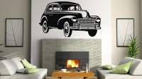 Decor Kafe Decal Style Vintage Car Medium Size-40*22 Inch Vinyl Film Sticker (Pack Of 1)