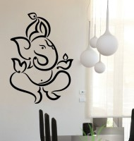 Vitin Enterprises Lord Ganesh Black Colour Wall Decal Self-adhesive Sticker (Pack Of 1)