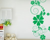 Decor Kafe Decal Style Green Flower Floral Art Small Size-16*33 Inch Wall Sticker Sticker (Pack Of 1)