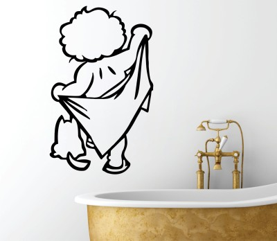 Decor Kafe Decal Style Boy With Towel Bath Small Size-13 X 21 Inch Black Vinyl Film Sticker (Pack Of 1)