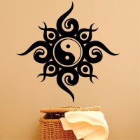 Decor Kafe Decal Style Chines Sign Wall Large Size-30*30 Inch Color - Black Vinyl Film Sticker (Pack Of 1)