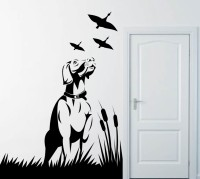Decor Kafe Decal Style Dogs And Birds Art Tiny Size-12*17 Inch Wall Sticker Sticker (Pack Of 1)