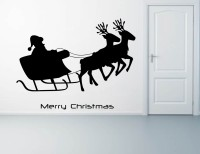 Decor Kafe Decal Style Santa On Deers Art Small Size Size-18*13 Inch Wall Sticker Sticker (Pack Of 1)