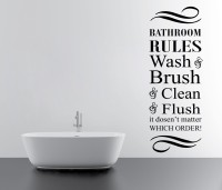 Decor Kafe Bathroom Rules Wall Decal Small Size-10 X 27 Inch Black Vinyl Film Sticker (Pack Of 1)