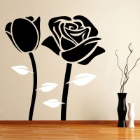 Decor Kafe Decal Style Black Rose Small Size-22*23 Inch Vinyl Film Sticker (Pack Of 1)