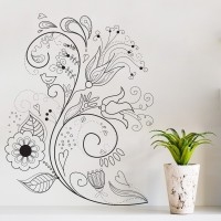Decor Kafe Decal Style Swirl Branch Art Small Size-14*19 Inch Wall Sticker Sticker (Pack Of 1)
