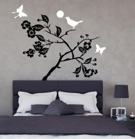 Decor Kafe Bird On Tree Self Adhesive Wall Decal Large Size-42*33 Inch Wall Sticker Sticker (Pack Of 1)