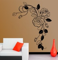 Decor Kafe Decal Style Rose Branch Art Tiny Size- 12*16 Inch Wall Sticker Sticker (Pack Of 1)