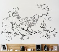 Decor Kafe Decal Style Bird On Floral Wall Medium Size-26*16 Inch Vinyl Film Sticker (Pack Of 1)