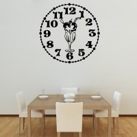 Decor Kafe Decal Style Knicker Bocker Glory Clock Wall Art Large Size-23* 23 Inch Color - Black Wall Sticker (Pack Of 1)