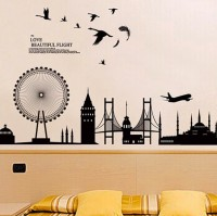 SYGA Silhouette Buildings Wall Pvc Vinyle Sticker (Pack Of 1)