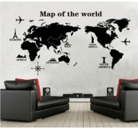 Oren Empower Map Of The World Decorative Wall Sticker (60 Cm X Cm 120, Black)