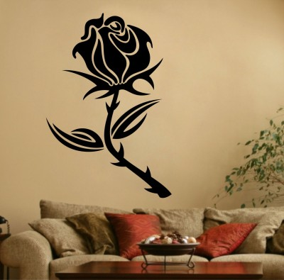 Decor Kafe Decal Style Rose Flower Large Size-31*45 Inch Color - Black Vinyl Film Sticker (Pack Of 1)